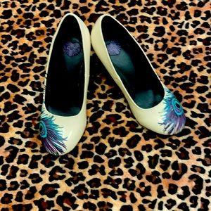 T.U.K heels peacock feather 5 pinup vlv rockabilly vixen retro